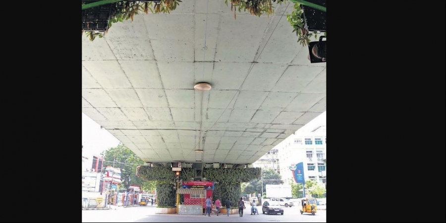 Vertical garden, dynamic lighting for Chennai flyovers